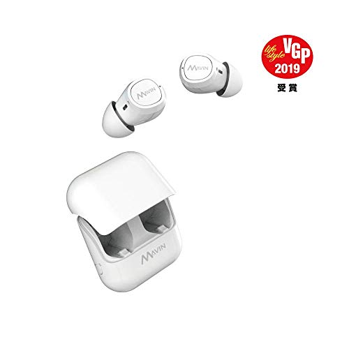 Mavin Air-X True Wireless Bluetooth 5.0 Earbuds with Charging Case,12hr Battery, IPX6 Sweat Proof, Built-in Latest QCC3026 SoC, 80hrs Playtime: Up to 100 ft. Range, Noise Cancelling Mic,White