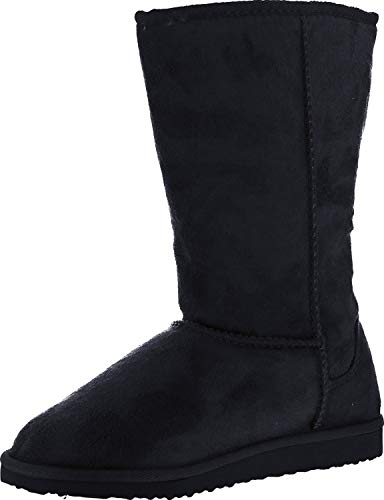 Soda Women's Soong Comfort Faux Suede Fur Mid- Calf Flat Boot, black, 9 M US