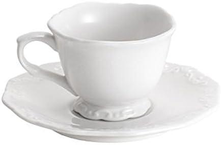 Cj 6 Xícaras de Café com Pires de Porcelana Alto Relevo Rojemac Branco