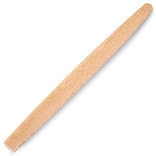 French Rolling Pin for Baking, Beech Wood Rolling Pin, Solid Dough Roller Baking Utensils for Pizza, Bread, Pastry, 18 Inch