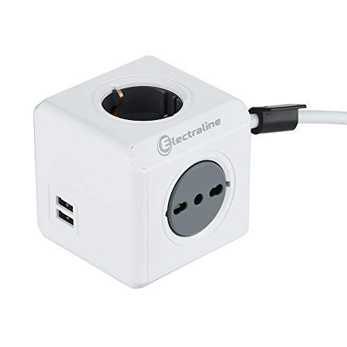 Electraline 62045 Multipresa Cubo Powercube 4 Posti con 2 USB 2.1A, 2 Schuko + Spina Italiana, 2 Bivalenti 10/16 Italiane, Colore Bianco, Cavo 1.5M