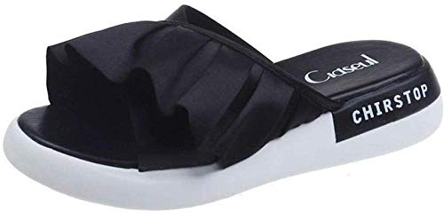 LLGG Baño Sandalias de Punta Descubierta,Sandalias de Color sólido de la Sra, Zapatos de baño Grueso-Negro_35,Unisex Adulto Zapatillas de baño