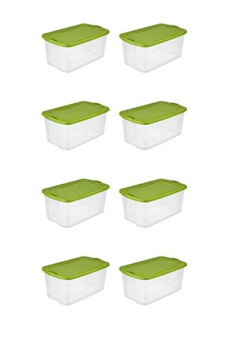 Sterilite 120 Quart EZ Carry- Spicy Lime, Case of 4 with Comfortable, carry thru handles, See-through base and Deep recessed lid for secure stacking
