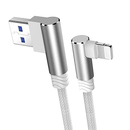 Cable Cargador USB de Carga rápida de 3m y 90 Grados para iPhone 6 6s 7 8 Plus X XR XS 11 12 Pro MAX SE 2 iPad Origin Cable de Datos Cable Largo Blanco