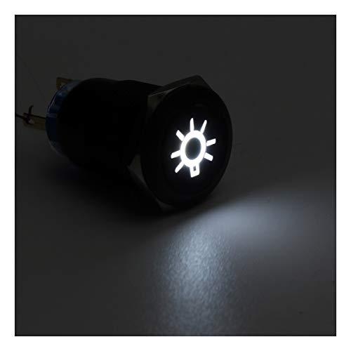 YOUCHANG 19mm Push Button LED Interruptor de la luz de Techo Interruptores Auto-Bloqueo momentáneo 12V for el Coche del Barco del Carro del camión (Color : White)