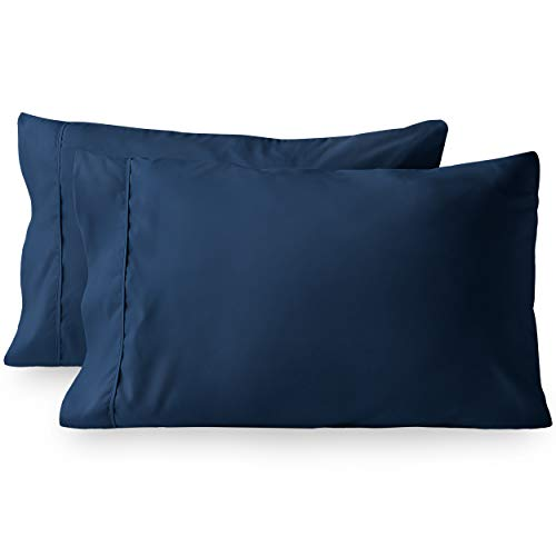 MOHAP Set Of 2 Navy Blue Envelope Closure Pillowcase Pillow Case Soft Queen Size
