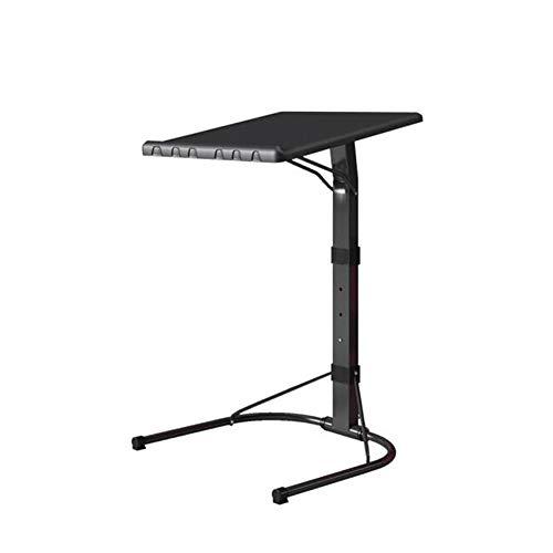 QIDI Laptop-Tisch Stand Falten Schreibtisch Wagen Lapdesk Mausbrett Verstellbare Höhe Abschließbar Rollen Sofa Bett Büro Tragbar Beweglich (Farbe : SCHWARZ)