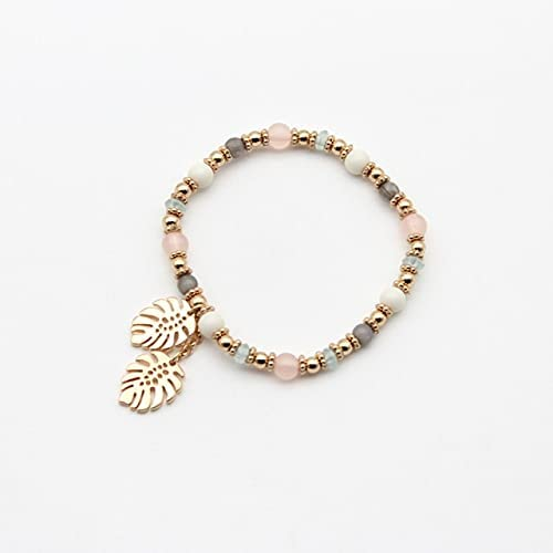 TranTran NTP Multi Color Bracelet Women Jewelry 2021Colorful Crystal Leaves Elastic Bangle Acrylic Beads Charm Pendant Cute 202157