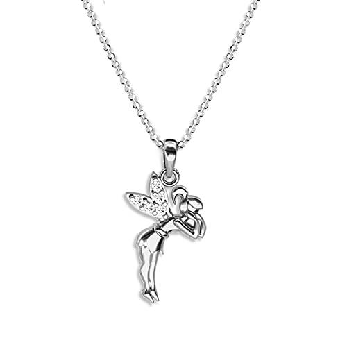 butterfly Kinderkette Mädchen Halskette Silber 925 Swarovski Elements Feen-Anhänger Fee längen-verstellbar Schmuck-Beutel Kinder Geschenk Schmuck