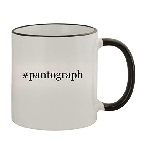 #pantograph - 11oz Ceramic Colored Rim & Handle Coffee Mug, Black