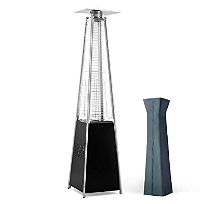 PAMAPIC Patio Heater with Cover, 42,000 BTU Pyramid Flame Outdoor Heater Quartz Glass Tube Propane Heater