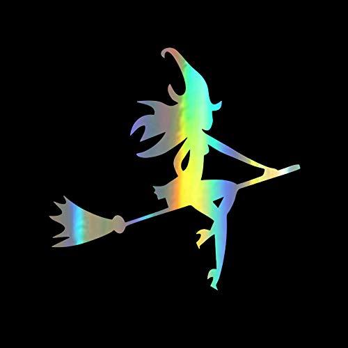 Atiehua Mode Halloween Sexy Hexenbesen Auto Aufkleber Cartoon Wasserdicht Reflektierende Abziehbilder 12,7 * 12,2 Cm