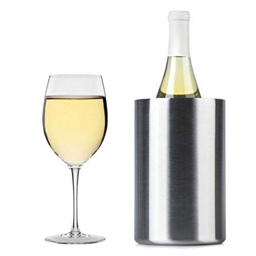 Cook's Fancy Double Walled Wine Chiller – Brushed Stainless Steel Finish – Insulated Wine Cooler/Champagne Bucket – Fits All 750ml Bottles – Keeps Bottles Cold (Single Pack)