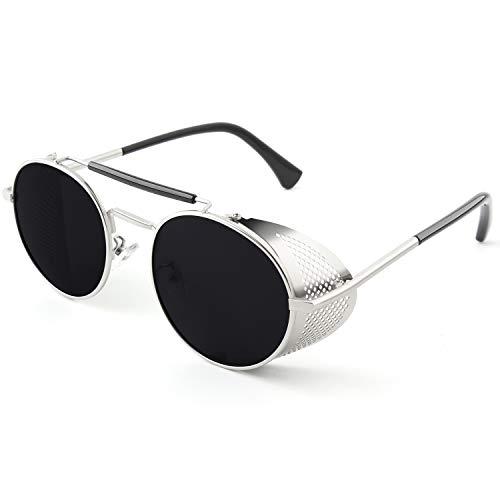 CGID Retro Sonnenbrille im Steampunk Stil Runde Metallrahmen Polarisiert Brille Herren Damen Silber Grau, CAT3, CE, E92