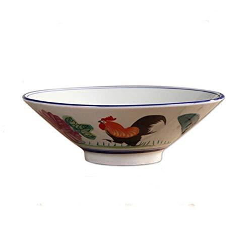 JINKEBIN Cuenco de Tazón Plato de Arroz Gallo tazón Plato de Arroz Noodle Bowl Soup Bowl Big Bowl Creativo Cuerno tazón de Ramen Cuenco de cerámica Pintada a Mano de vajilla de cerámica tazón Retro