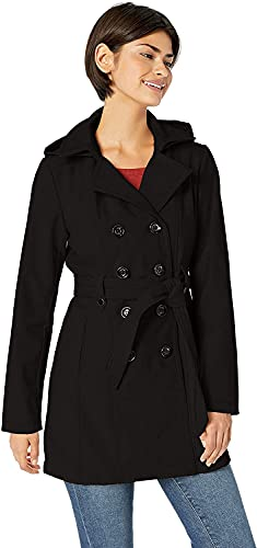 Sebby Collection Women's Soft Shell Trench Coat with Detchable Hood
