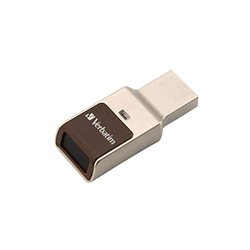 VERBATIM Fingerprint Secure USB-Stick I USB-3.2 Gen 1 I 32GB I Speicherstick mit Fingerabdruck-Erkennung & Verschlüsselung I USB-3 I externer Speicher für Laptop Notebook & Co I braun/gold