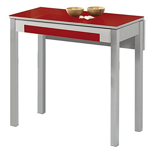 ASTIMESA Mesa de Cocina, Metal, Rojo, 90x50cm-extendida 90x70 cms