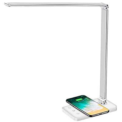 Multifunctional LED Desk Lamp with Wireless Charger, USB Charging Port, 5 Lighting Modes,5 Brightness Levels, Sensitive Control, 30/62 min Auto Timer, Eye-Caring Office Lamp with Adapter from AFROG