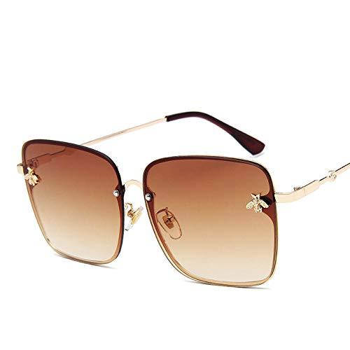 Sunglasses Metall Übergroße Sonnenbrille Frauen Bunte Rahmen Biene Damen Vintage Square Sonnenbrille Retro Pink Sonnenbrille Gafas Braun
