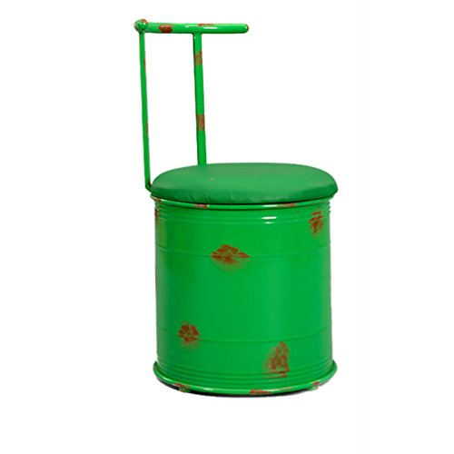 Creative Bar Stool, 40 * 80cm - Retro Industrial Style Round Lounge Chair Bar Counter Hushållens Restaurant Multifunction Iron Art Pall (Color : Green)