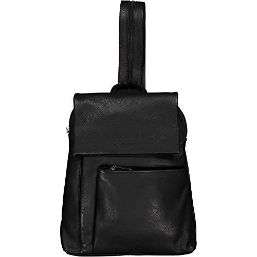 Unbekannt ESTELLE Leder Rucksack Damen Cityrucksack Daypack 26 x 30 x 08 cm (schwarz)