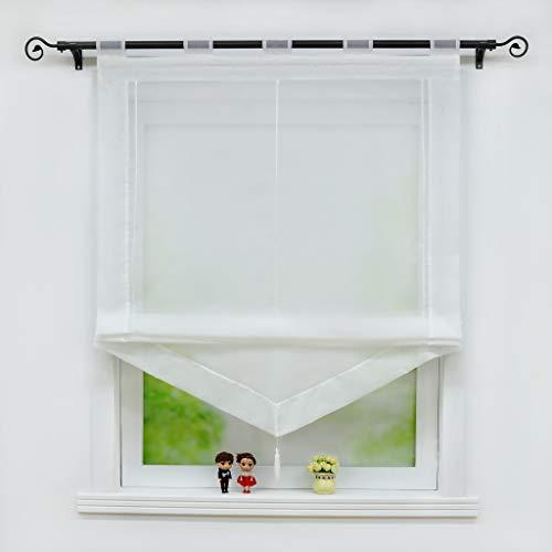 Joyswahl Voile Raffrollo mit Quaste Transparenter Dreieck Rollos mit farbigem Blende »Julia« Schals Fenster Gardine mit Schlaufen BxH 60x140cm Weiß 1 Stück