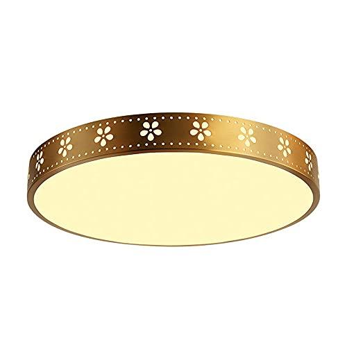 HUJUNM Lámpara de Techo Americana del Dormitorio Americano, lámpara de Techo Redonda de Oro Creativa nórdica, lámpara de Estudio Simple y Moderna y lámparas de Sala de Estar y linternas, Accesorio de