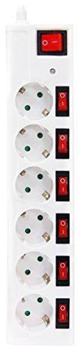 Oferta de Garza Power 420034 - Base múltiple Top de 6 tomas Schuko con Interruptores Independientes + Interruptor Máster, Protección contra Sobretensiones, color Blanco