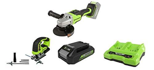 Greenworks Akku-Winkelschleifer GD24SAG + Akku-Stichsäge GD24JS +Akku G24B2 2.Generation +Doppelsteckplatz-Akku-Universalladegerät G24X2C