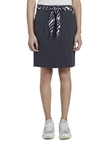 TOM TAILOR Damen Röcke Paperbag Minirock mit Stoff A-Linie Stoffgürtel, Sky Captain Blue, 36