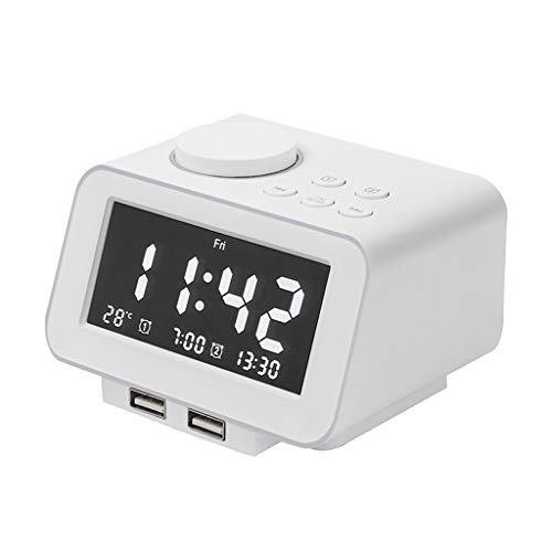 SxType Digitale wekker, werkt op batterijen, dubbele functie, USB, voor kinderen, meisjes, wekker voor slaapkamer, elektronische wekker met weergave van temperatuur en snooze