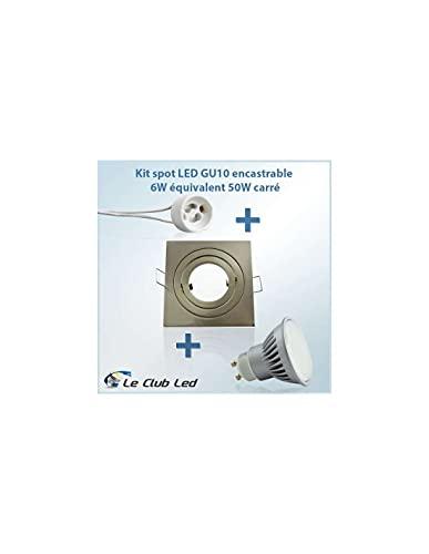 Kit Spot LED GU10 4W angle large équivalent 40W carré - Blanc Froid 6400K - Support spot encastrable carré fixe perçage 68mm SUP-6024