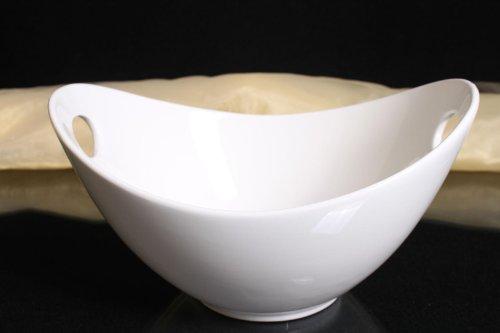 Schale oval mit Griffen Porzellan weiss Salatschale Obstschale