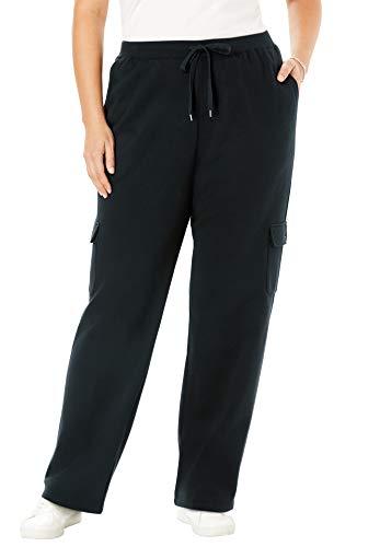 Woman Within Women's Plus Size Better Fleece Cargo Sweatpant - 1X, Black