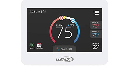 Lennox 17G74 CS7500 ComfortSense 7500 White Commercial Programmable Universal Multi-Stage Full-Color LCD Touchscreen Display Thermostat ASHRAE IECC FDD Compliant