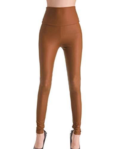 Shaoyao Mujeres PU Cuero Leggings Skinny Elásticos Pantalones Cintura Alta Leggins Café Claro M