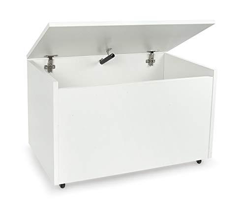 LEOMARK Caja de madera banco con almacenamiento para juguetes, accesorios Baúl de juguetes sobre ruedas, blanco