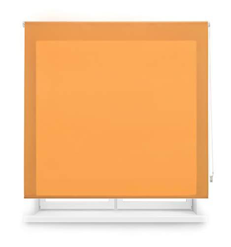 Blindecor Ara Estor enrollable translúcido liso, Naranja, 140 x 175 cm, Manual