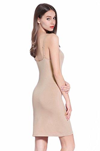 Coreal Damen Unterkleid Slim Nachthemd Verstellbare Träger nachtwäsche Kamelhaarfarbe Medium