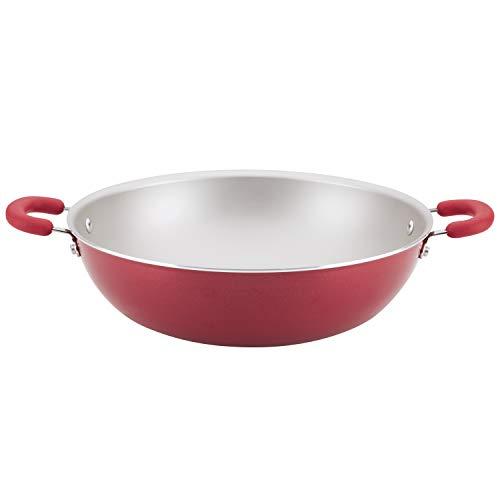 Rachael Ray Create Delicious Nonstick Wok/Stir Fry Pan/Wok Pan - 14.25 Inch, Red Shimmer