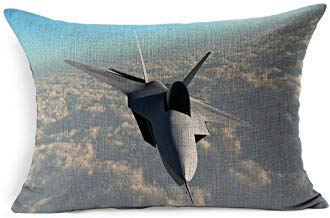 DarrenOw02 Speed Blue Raptor 22 Power Fighter Jet Technology Supersonic F22 Navy Fly Plane Stealth Aerodynamic Afterburner Rectangle Cushion Covers 16x24 for Living Room Sofa Decor Outdoor