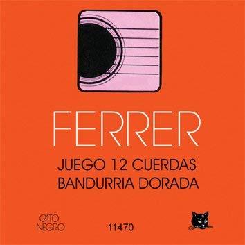 Juego de cuerdas para bandurria 12 cdas Doradas Ferrer. Gato Negro