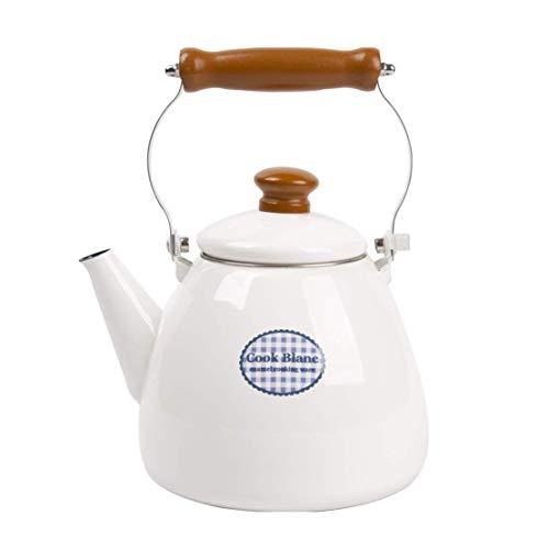 Vattenkokare emalj vattenkokare, vit tryckt kastrull 2 l stor kapacitet, med anti-skållning trähandtag tekanna, lämplig för hemspis eller spis, traditionell/retro pip tekanna (färg: Vit, storlek: 2 L)