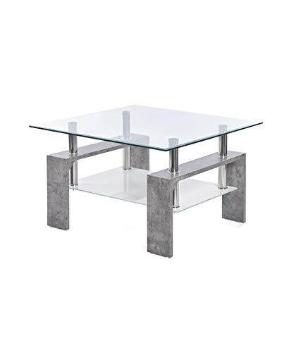 ts-ideen Design Wohnzimmer Couch Glastisch Glas Beistell-Tisch Edelstahl Holz Stein Beton Grau mit 8 mm ESG Sicherheitsglas mit Ablage