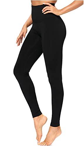 DYLISEA Leggings Mujer Push Up con Bolsillos Mallas Deporte Mujer Cintura Alta Pantalones de Yoga para Mujer EláSticos y Transpirables para Yoga Running Fitness (Negro, L)
