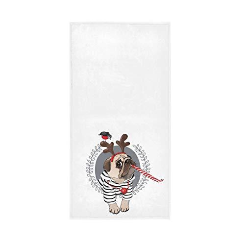 Badetücher Hand 30x15 Zoll hochsaugfähig dekorativ für Bad Home Hotel Gym Spa Weihnachten Stil Mops Hund gestreifte Strickjacke Horn Hirsch Vintage weichen großen Gast Mehrzweck