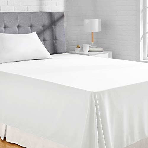 Amazon Basics Bettlaken, Mikrofaser, Strahlend weiß, 180 x 260 + 10 cm