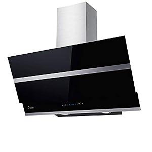 KKT KOLBE Hotte aspirante murale / 90 cm/acier inoxydable/verre noir/très silencieux / 4 marches/éclairage LED/touches sensitives TouchSelect / HERMES906S
