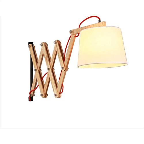 Wandlampe Vintage Scherenlampe Links/Rechts Ausziehbar Flexible Leselampe Wandlampe Holz Wandleuchte Innen Schlafzimmer Nachttischlampe mit Schalter und 3,5m Netzkabel E27 Handgearbeitet Stoffschirm [
